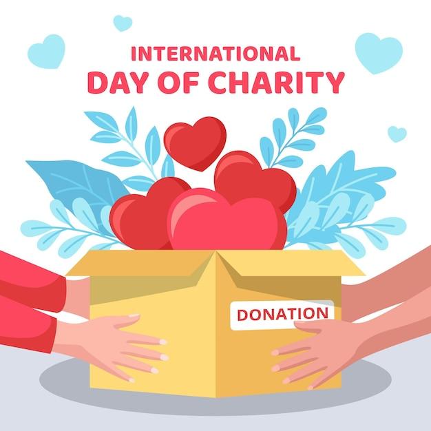 Design piatto giornata internazionale del concetto di beneficenza Vettore gratuito