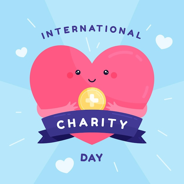 Flat design international day of charity with heart Premium Vector