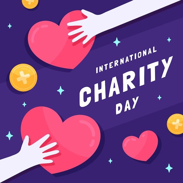 Design piatto giornata internazionale di beneficenza con cuori e mani Vettore gratuito