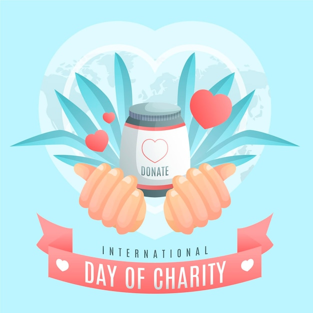 Flat design international day of charity Free Vector