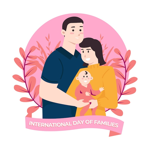Flat design international day of families Free Vector