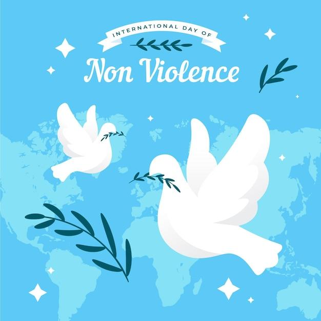 Giornata internazionale di design piatto delle colombe della non violenza Vettore gratuito