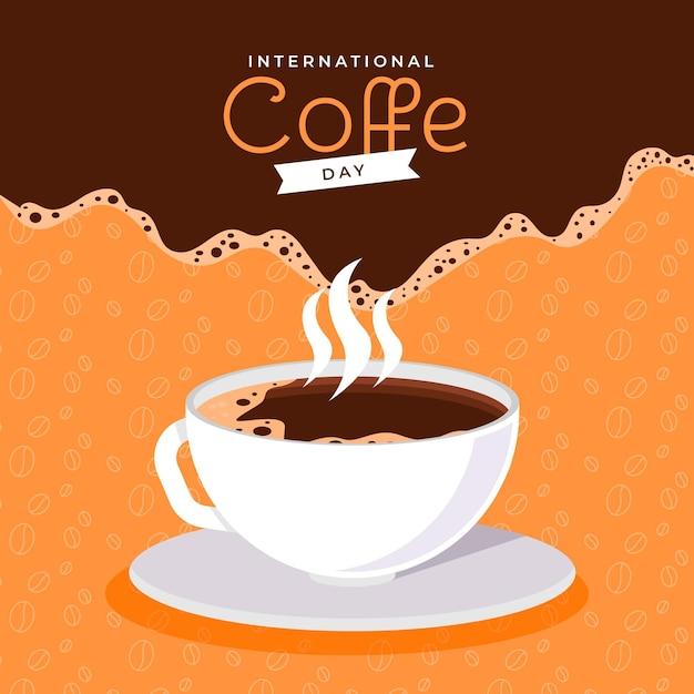 コーヒーのフラットデザイン国際デー Premiumベクター
