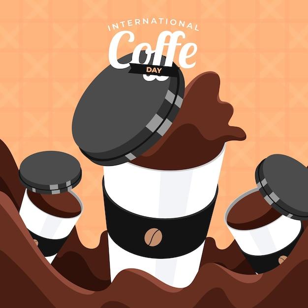 Международный день кофе в плоском дизайне Бесплатные векторы