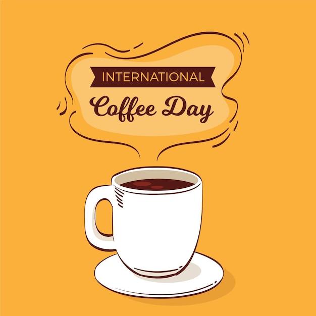 コーヒーのフラットデザイン国際デー 無料ベクター