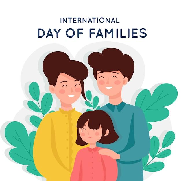 가족의 평평한 디자인 국제 날 무료 벡터