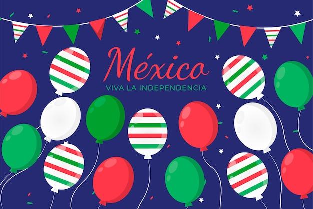 メキシコ風船背景のフラットデザイン国際デー 無料ベクター