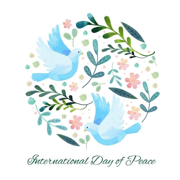 平和の背景のフラットデザイン国際デー 無料ベクター