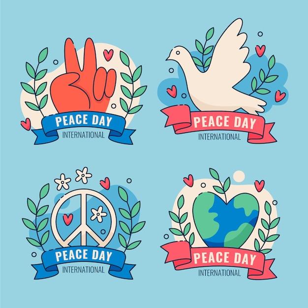 Плоский дизайн коллекции значков международного дня мира Бесплатные векторы