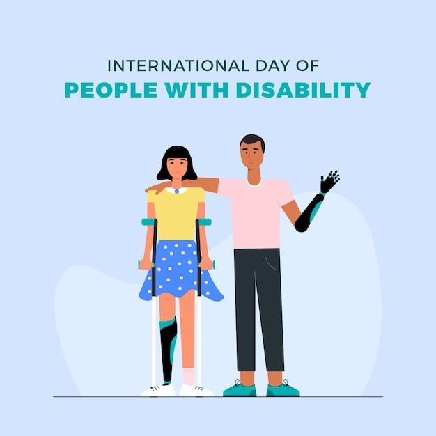 障害者のフラットデザイン国際デー 無料ベクター