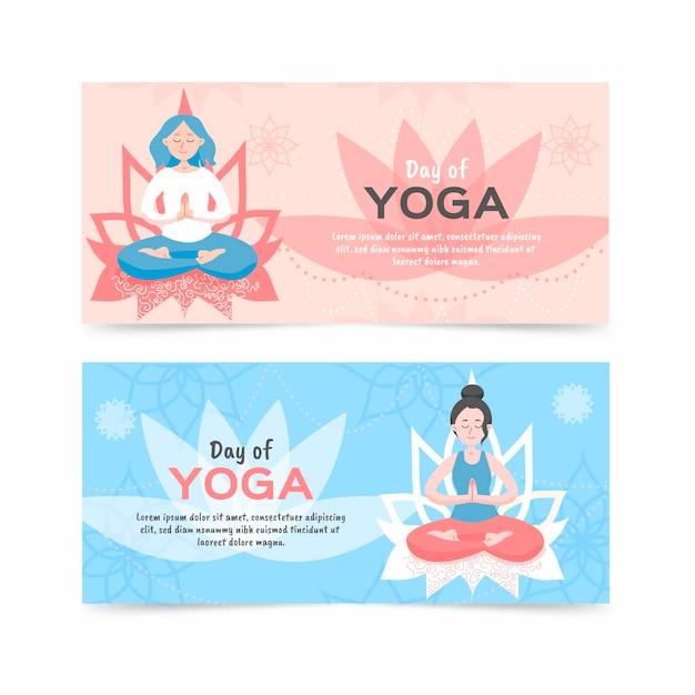 Плоский дизайн международного дня йоги баннера Бесплатные векторы