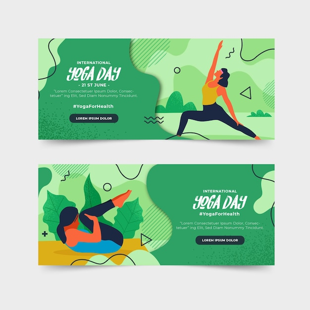 Flat design international day of yoga banner Free Vector