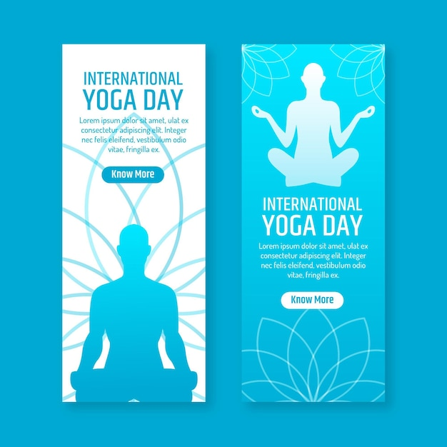 Flat design international day of yoga banner Free Vector