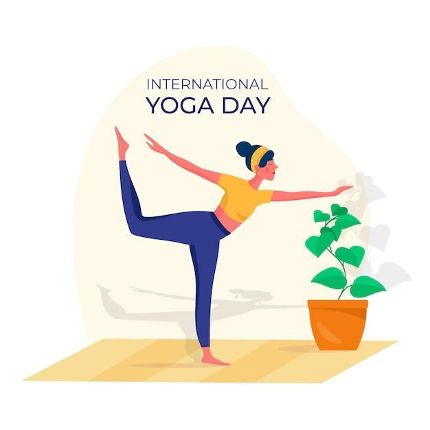 Flat design international day of yoga event Free Vector