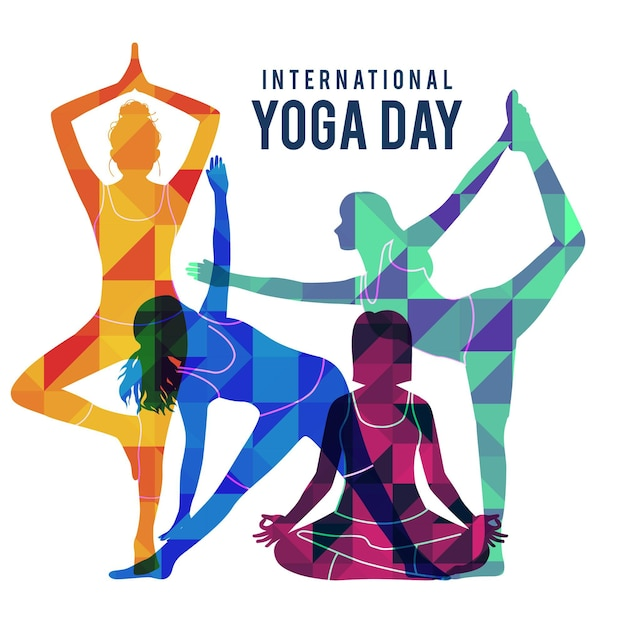 Flat design international day of yoga illustration Free Vector