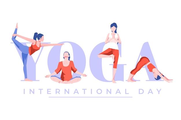 Flat design international day of yoga Premium Vector