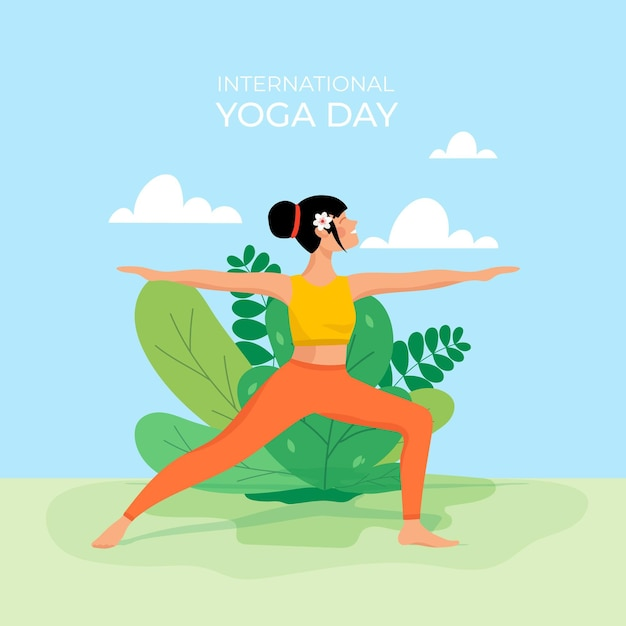 Flat design international day of yoga Free Vector