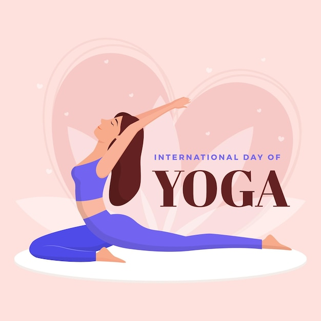 Flat design international day of yoga Free Vector
