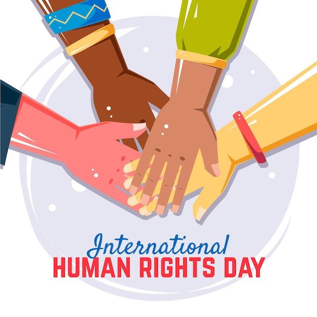 Flat design international human rights day background Premium Vector