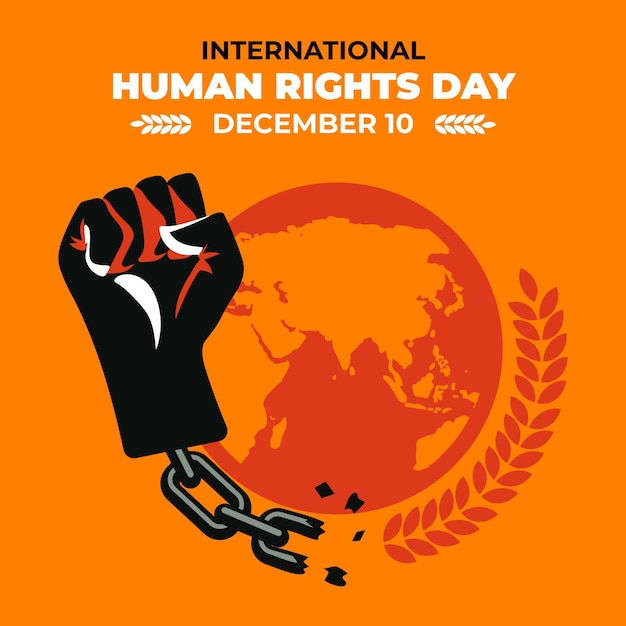 Flat design international human rights day with fist Free Vector