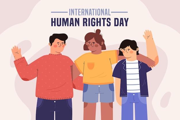 Giornata internazionale dei diritti umani di design piatto con gli amici Vettore gratuito