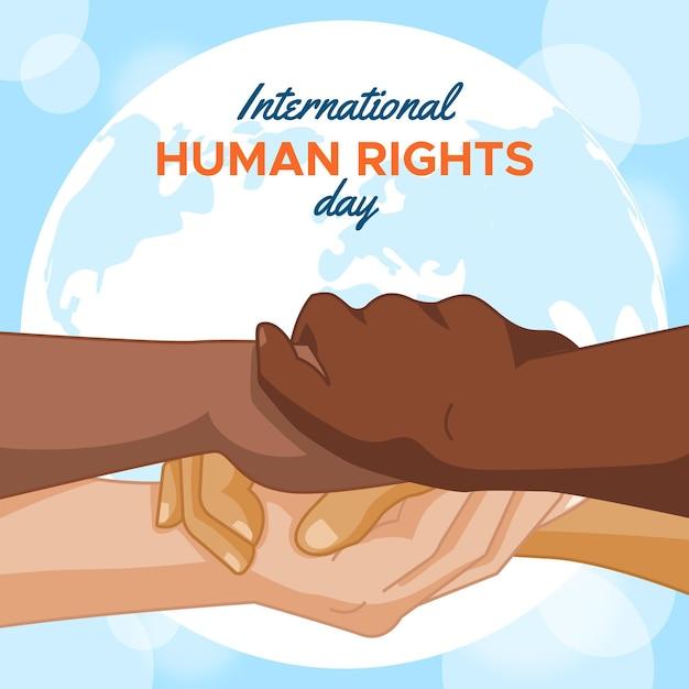 Flat design international human rights day Premium Vector