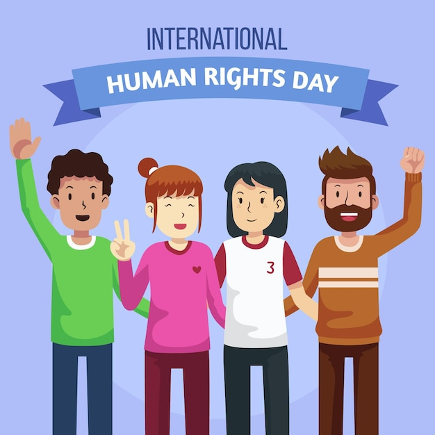 フラットデザイン国際人権デー 無料ベクター