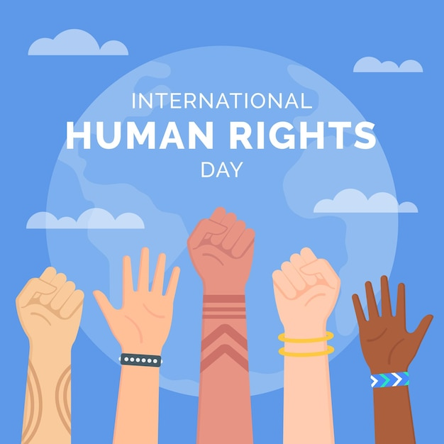 Flat design international human rights day Premium Vector