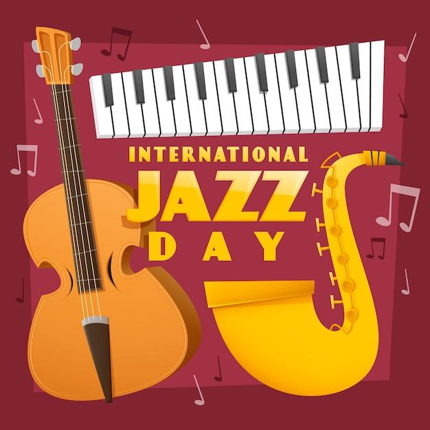 Плоский дизайн международный день джаза Бесплатные векторы