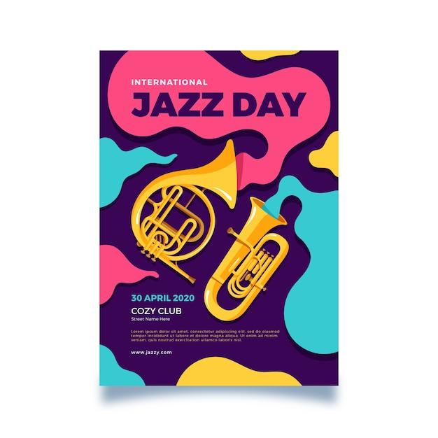 フラットなデザインの国際ジャズの日チラシテンプレート 無料ベクター