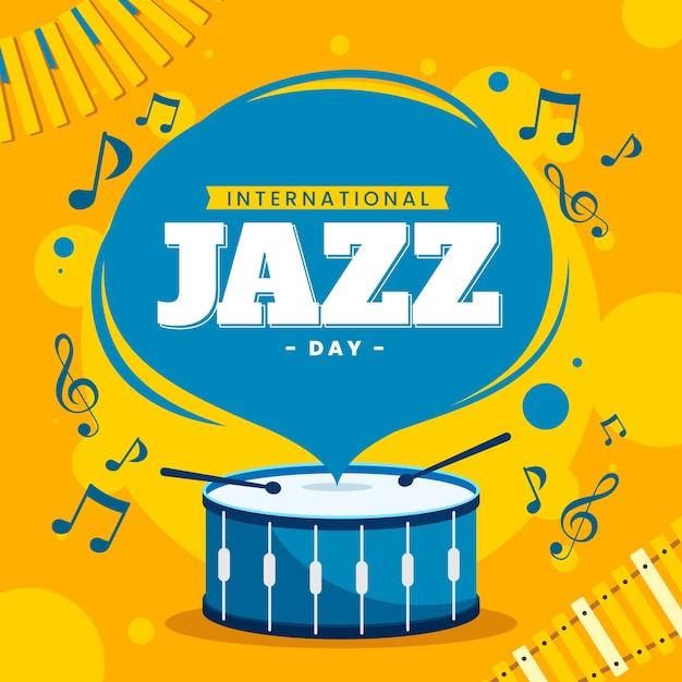 Плоский дизайн международный день джаза иллюстрации Бесплатные векторы