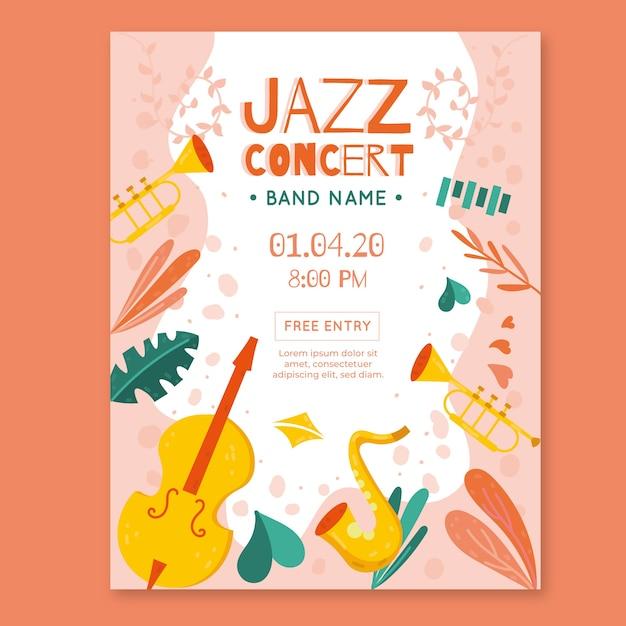Flat design international jazz day poster template Premium Vector