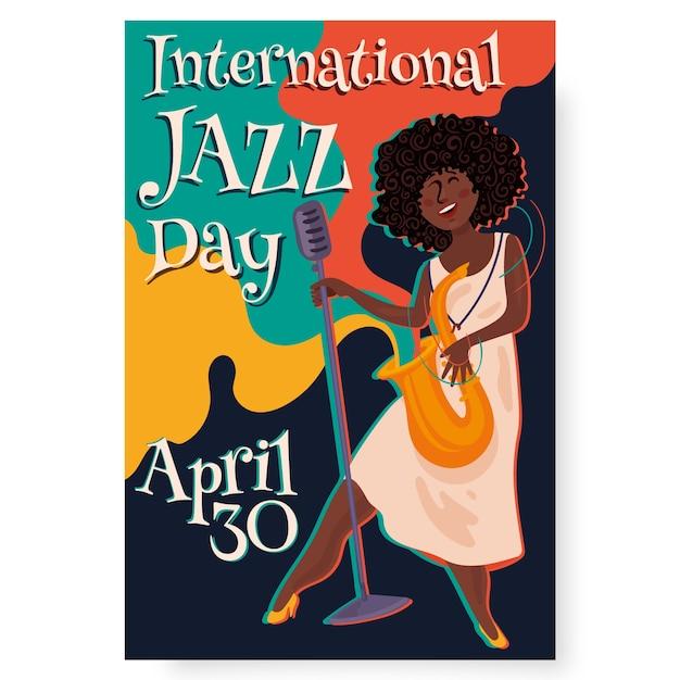 Flat design international jazz day poster template Free Vector
