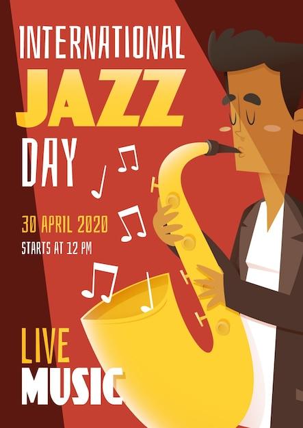Плоский дизайн шаблона международный день джаза плакат Бесплатные векторы