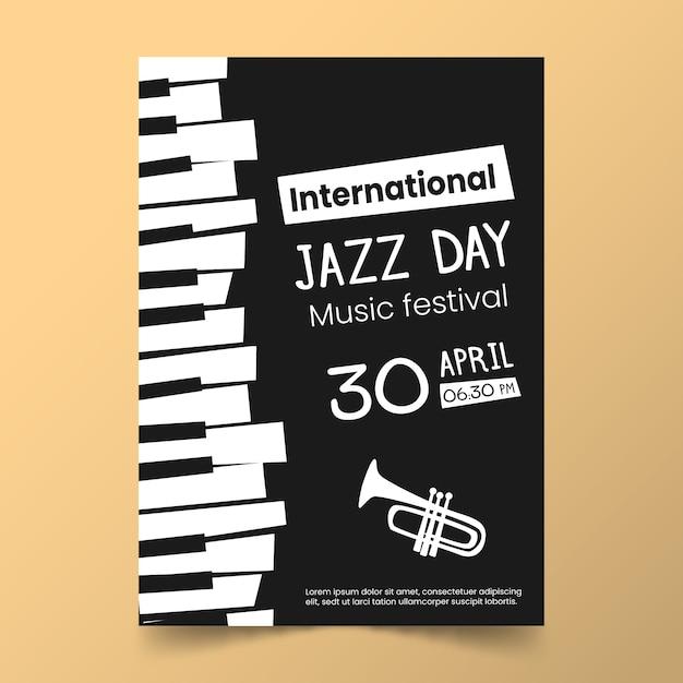 평면 디자인 국제 재즈의 날 템플릿 테마 무료 벡터