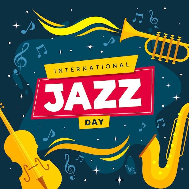 Международный день джаза с плоским дизайном Бесплатные векторы
