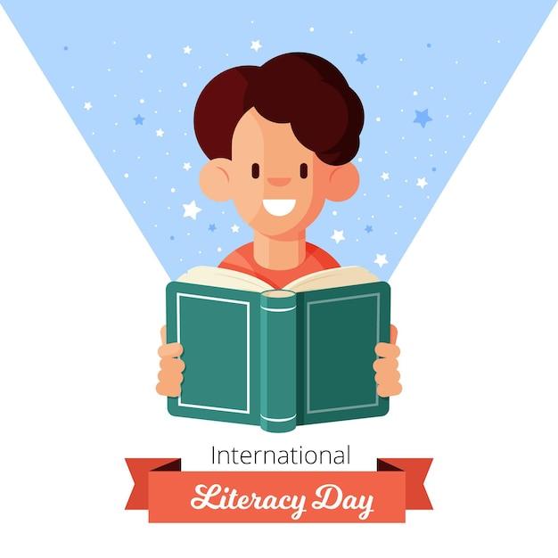 Плоский дизайн международный день грамотности фон Бесплатные векторы