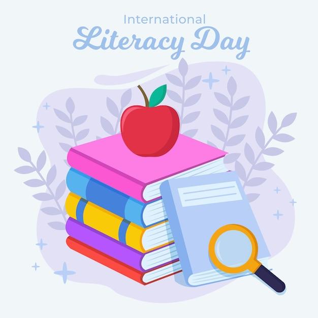 本とリンゴのフラットデザイン国際識字デー 無料ベクター