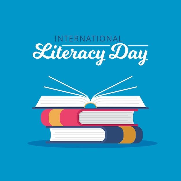 Flat design international literacy day Free Vector