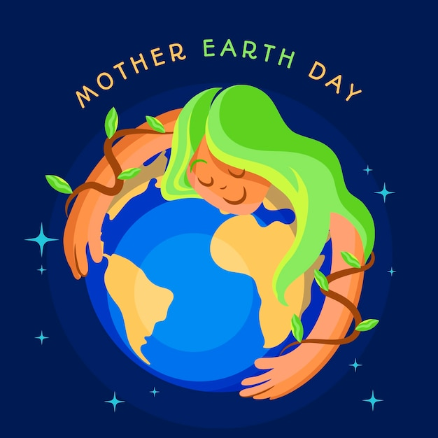 Flat design international mother earth day event design Free Vector