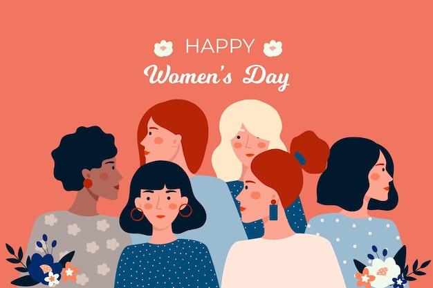 Flat design international women day Free Vector