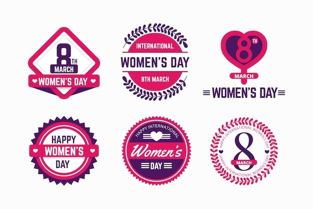 Набор наклеек международного женского дня в плоском дизайне Бесплатные векторы