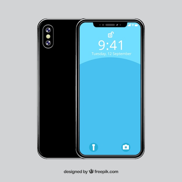 Flat design iphone x with different views Premium Vector