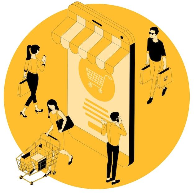 黒の金曜日、季節の夏、秋、春、冬のセール、幸せな人々、男性と女性のショッピングバッグ、スーパーマーケットのカートでのモバイルおよびオンラインショッピングのフラットデザイン等尺性概念。 Premiumベクター