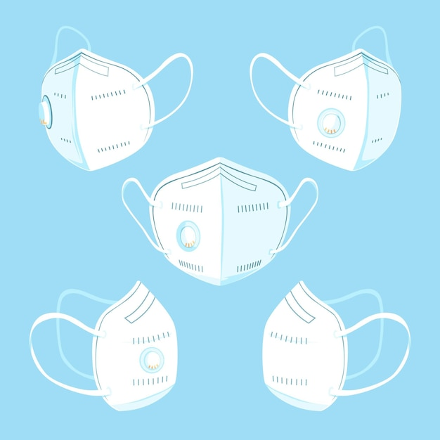 Flat design of kn95 face mask in different perspectives Free Vector