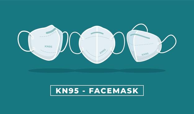 Design piatto della maschera facciale kn95 in diverse prospettive Vettore gratuito