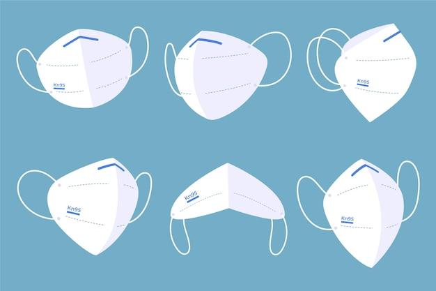 Maschera facciale kn95 design piatto Vettore gratuito
