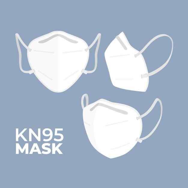 Maschera medica kn95 design piatto in diverse angolazioni Vettore gratuito