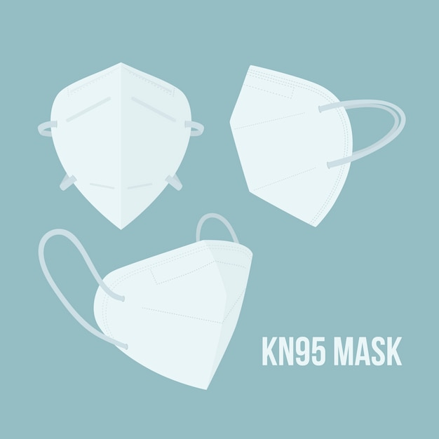 Flat design kn95 medical mask in different perspectives Free Vector