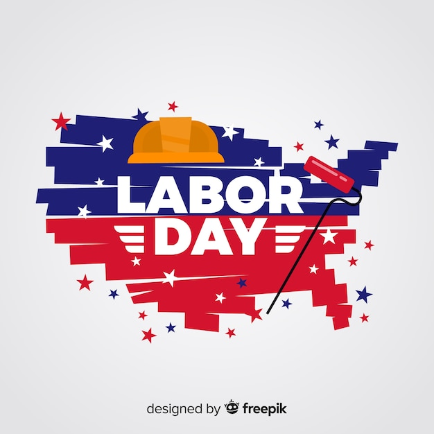 Flat design labor day background Free Vector
